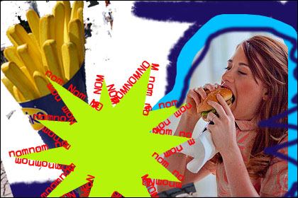 girl eating burger collage